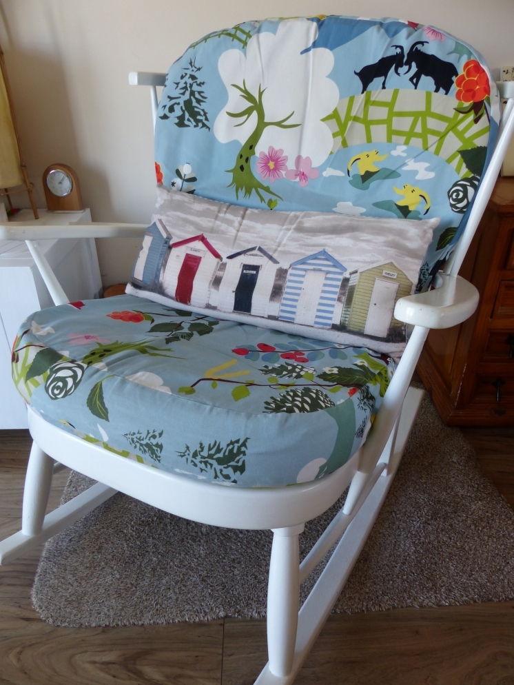 An old rocking chair I painted and recovered now has pride of place in our lounge!