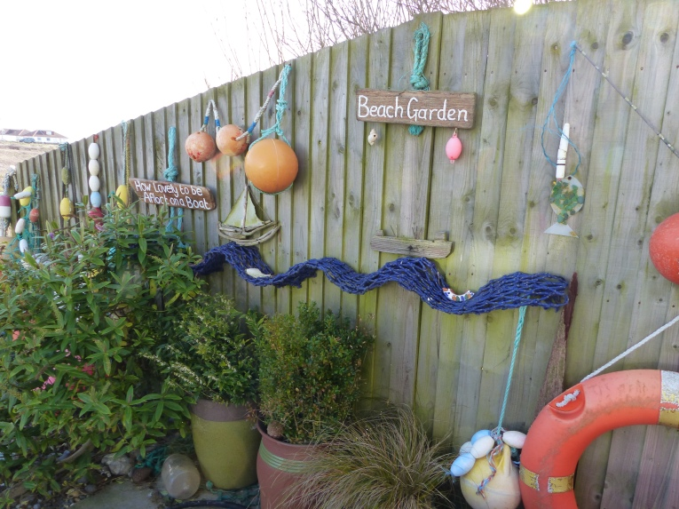 Our 'Beach Garden' filled with treasures found on our local beach!