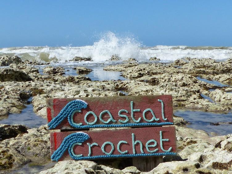 Coastal Crochet chains on Driftwood