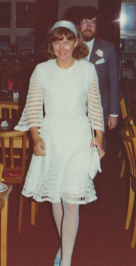 My mother crocheted her own wedding dress- I love it!