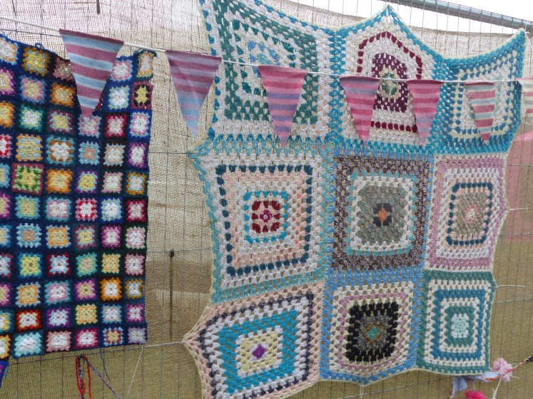 Oxfam had a stall with crochet on display and selling handmade blankets.