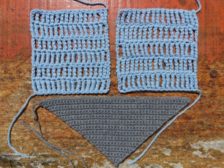 A square of Triple Trebles, a square of Quadruple Trebles and a triangle of Double Crochet starting at the point.